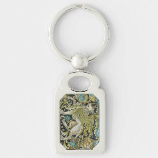 Key Chain--Deruta Tile Lion Silver-Colored Rectangle Keychain