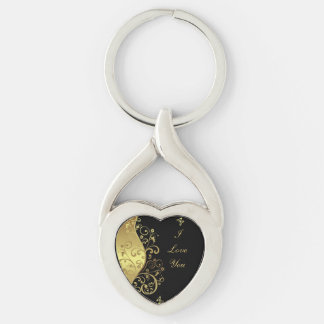 Key Chain--Gold Swirls & Black Silver-Colored Twisted Heart Keychain