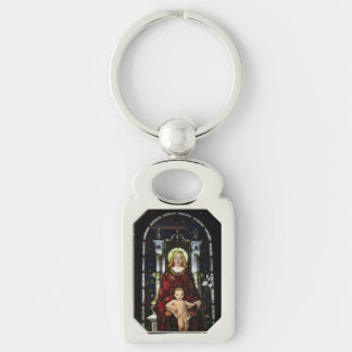 Key Chain--Madonna and Child Silver-Colored Rectangle Keychain