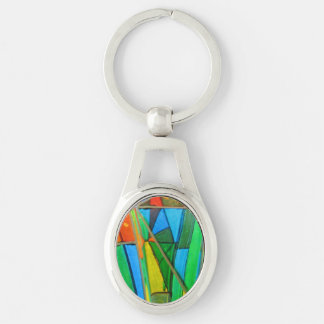 Key Chain--Murano Glass Green Silver-Colored Oval Keychain