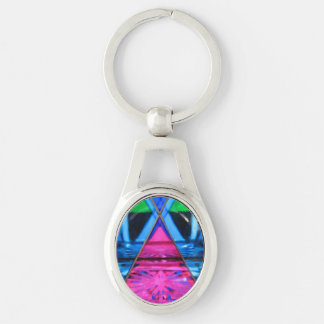 Key Chain--Murano Glass Pink Triangle Silver-Colored Oval Keychain