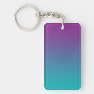 Key Chain: PURPLE AND TEAL OMBRE Double-Sided Rectangular Acrylic Keychain