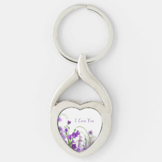 Key Chain--Purple Flowers-Horizontal Silver-Colored Twisted Heart Keychain