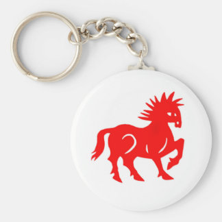 Key Chain: Red Horse Chinese Zodiac Basic Round Button Keychain