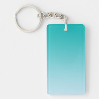 Key Chain: TEAL OMBRE Double-Sided Rectangular Acrylic Keychain