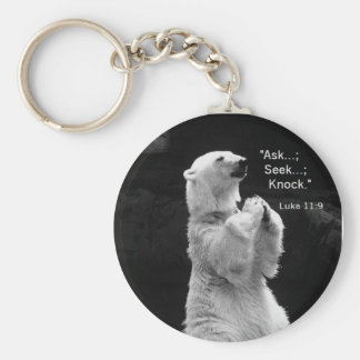 key chain with ask, seek, knock