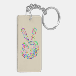 Key Chain with Peace Sign Colorful
