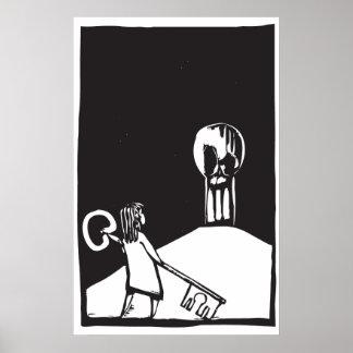 Key Girl and Skull Poster