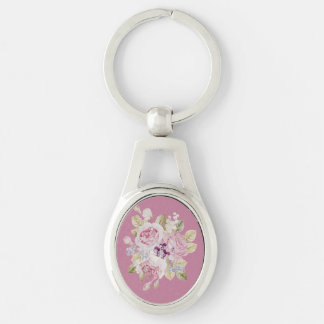 Key holder of romantic rose handle Silver-Colored oval keychain