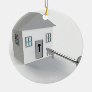Key Home, Real Estate Agent, Selling Round Ceramic Ornament