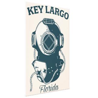 Key Largo Florida Nautical Diving travel poster Canvas Print