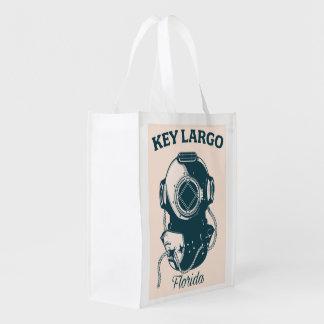 Key Largo Florida Nautical Diving travel poster Reusable Grocery Bag