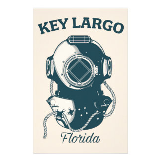 Key Largo Florida Nautical Diving travel poster Stationery