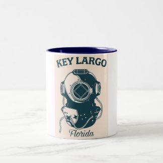 Key Largo Florida Nautical Diving travel poster Two-Tone Coffee Mug