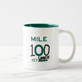 KEY LARGO: KEY WEST MILE ZERO ROAD SIGN GRAFITTI Two-Tone COFFEE MUG