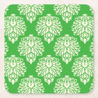 Key Lime Southern Cottage Damask Square Paper Coaster