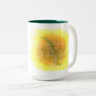 Key of happy life Two-Tone coffee mug