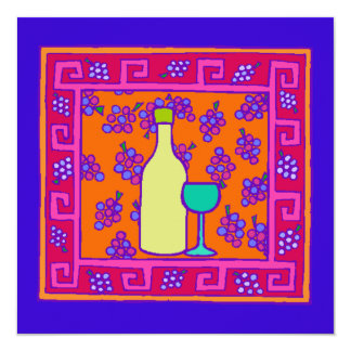 Key Pattern & Grapes & Wine Party Invitation