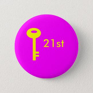 key pink, 21st 2 inch round button