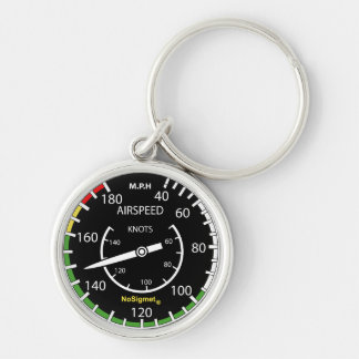 "Key-ring instrument plane: ""Anemometer "" Silver-Colored Round Keychain"