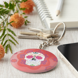 Key ring of Mexican skull Basic Round Button Keychain