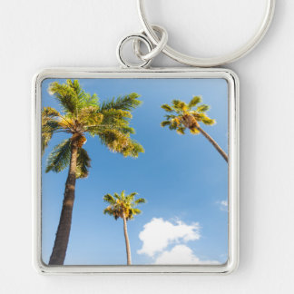 Key-ring Palm trees Silver-Colored Square Keychain