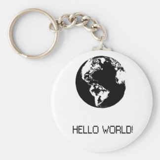 key ring with message Hello black World Basic Round Button Keychain