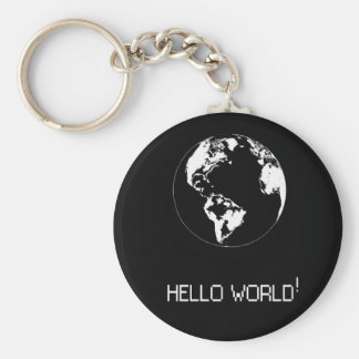 key ring with message Hello World in target Basic Round Button Keychain