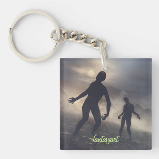 key ring with zombie illustrations Double-Sided square acrylic keychain
