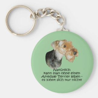 "Key supporter ""Airedale Terrier "" Basic Round Button Keychain"