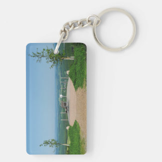 Key supporter winner country, depth red ago height Double-Sided rectangular acrylic keychain