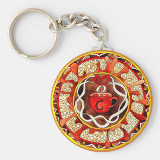 Key supporter with handpainted coffee Mandala Keychain