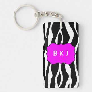 Key Tag Black Zebra with Initials Keychain