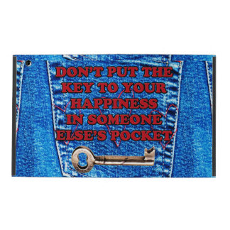 Key to Happiness Pocket Quote | Blue Jeans Denim iPad Cover