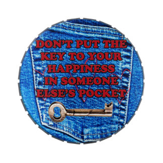 Key to Happiness Quote Blue Jeans Denim Pocket