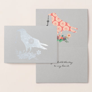 Key To My Heart Pink Floral Bird Custom Text Real Foil Card