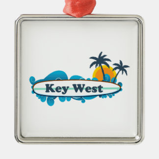 Key West (12) Silver-Colored Square Ornament