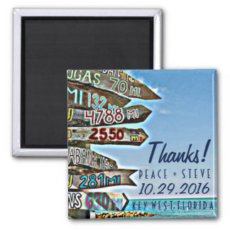 Key West Destination Wedding Favor Thanks Magnets