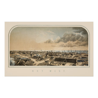 Key West FL Panoramic Map 1855 Poster