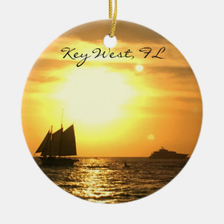 Key West, FL Sailboat Sunset Round Ceramic Ornament