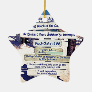 key west florida beach sign ceramic star ornament