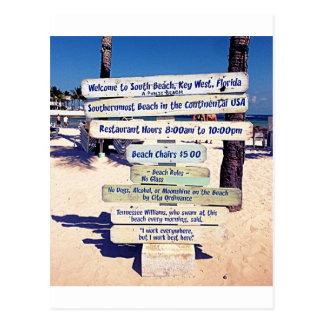key west florida beach sign postcard