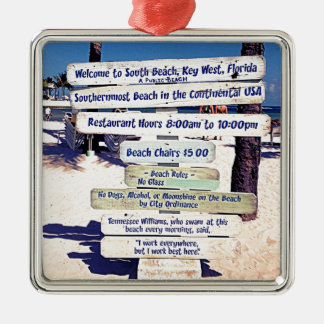 key west florida beach sign Silver-Colored square ornament