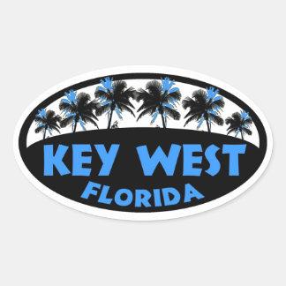 Key West Florida blue black palms Oval Sticker
