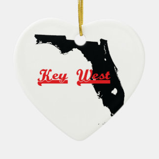 key west Florida Ceramic Heart Ornament