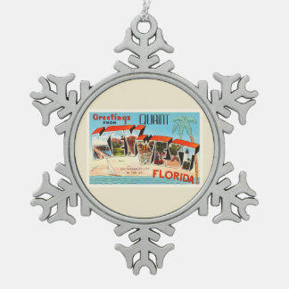 Key West Florida FL Old Vintage Travel Souvenir Pewter Snowflake Ornament
