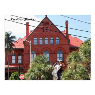 Key West Florida, Sailor kissing Nurse WWII Postcard