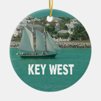 Key West Florida scene Round Ceramic Ornament