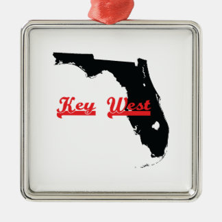 key west Florida Silver-Colored Square Ornament
