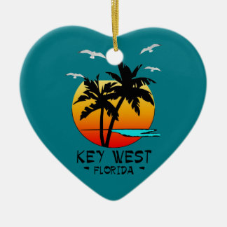 KEY WEST FLORIDA TROPICAL DESTINATION CERAMIC HEART ORNAMENT